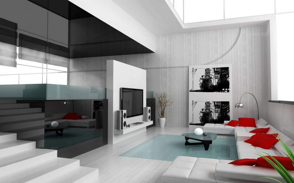 Moderne Wohnzimmer Mit Weiß Prima Stoff Sofa Satz Elegante ...