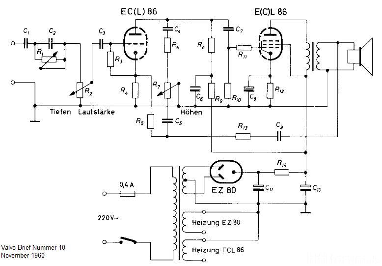 Valvo Brief Ecl86 Verstärker Schaltplan | brief, schaltplan, valvo ...