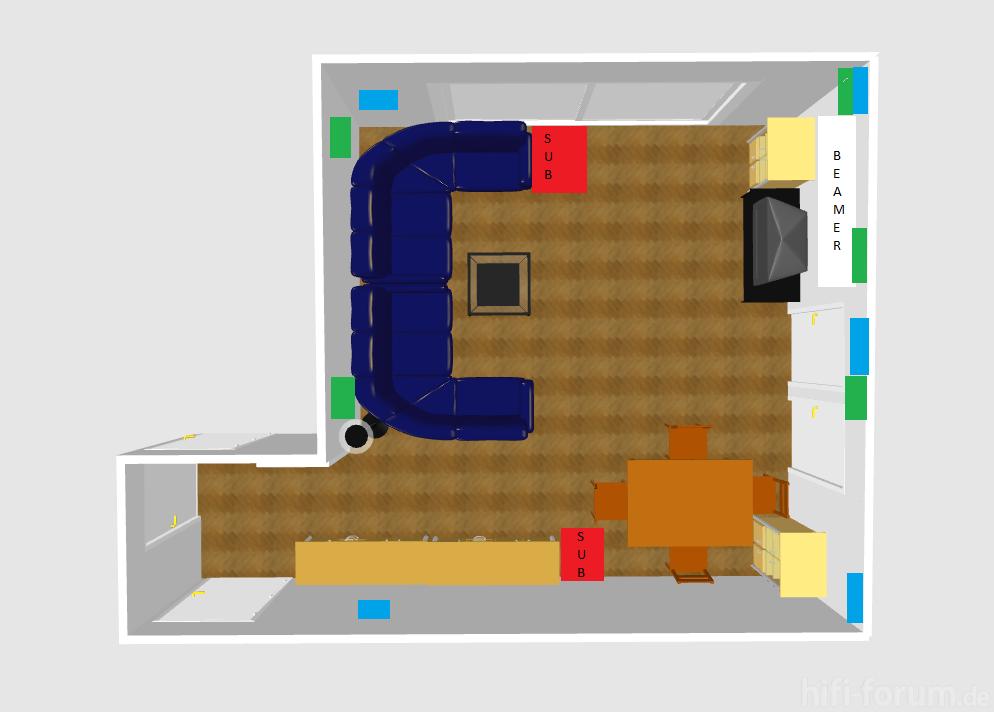 Wohnzimmer Wand Draufsicht  heimkino, lautsprecher, surround  hifi