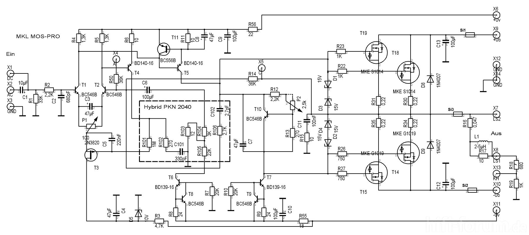 Schaltplan MKL MOS-PRO | doityourself, elektronik, endstufe, mkl ...