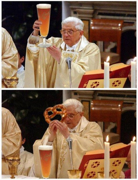 Pope Drinking Beer