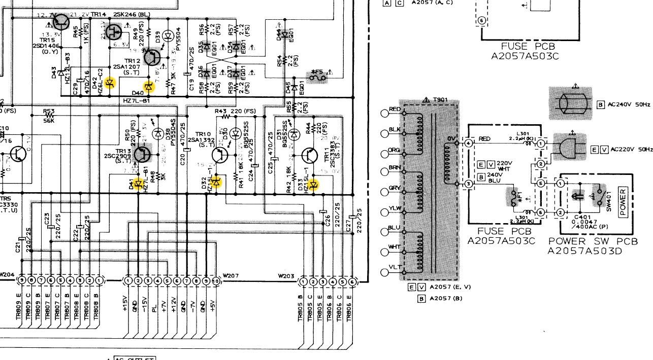 Akai Am 73 Schematic Detail Voltage Regulators With Zener Diodes Diode Regulator Marked