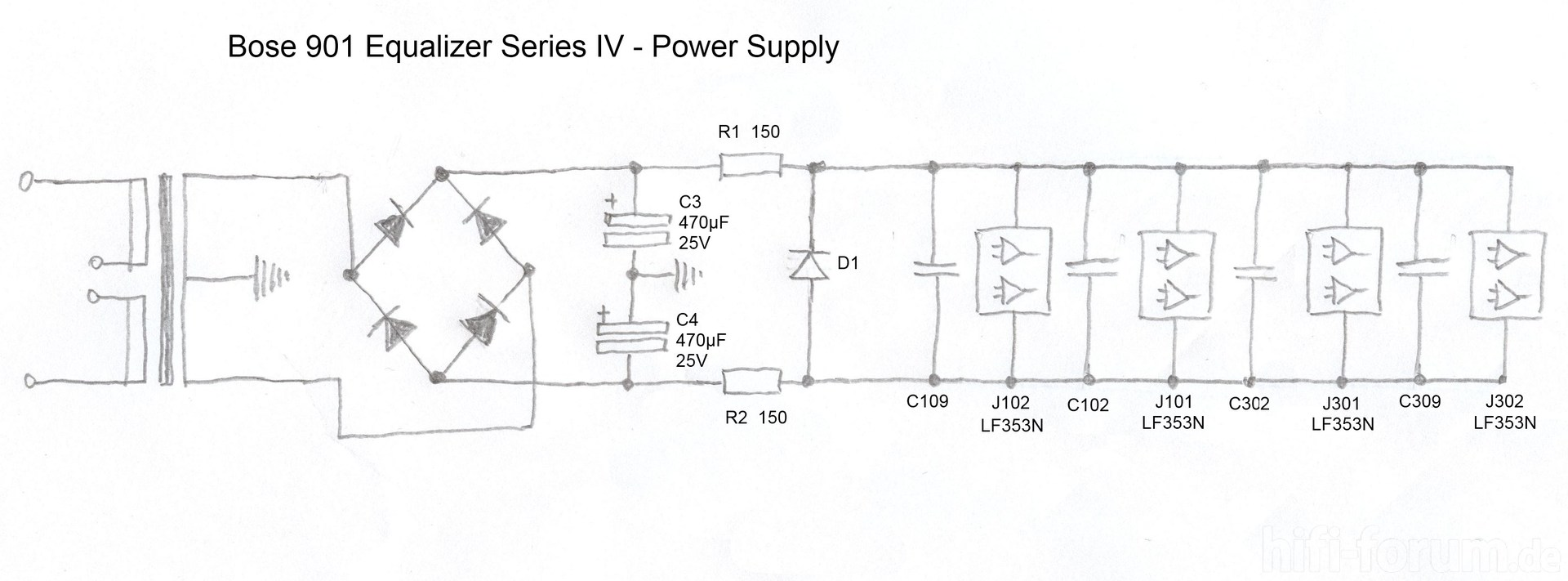 bose 901 equalizer iv schematic detail power supply_214315 bose 901 equalizer schematic bose 901 wiring diagram bose bose 901 wiring diagram at crackthecode.co