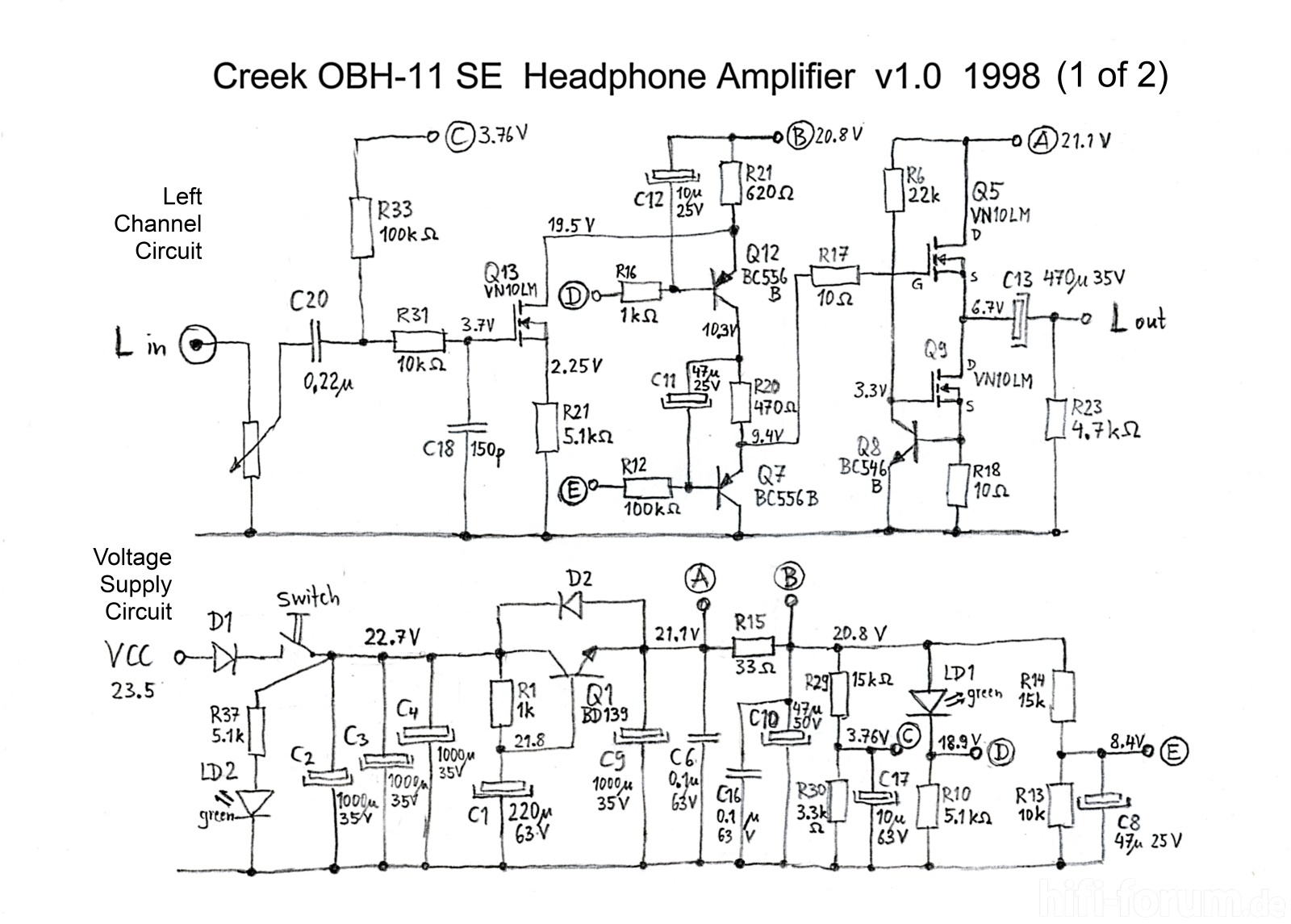 Creek OBH-11SE Schematic Schaltplan PCB v1 1998 right channel and ...