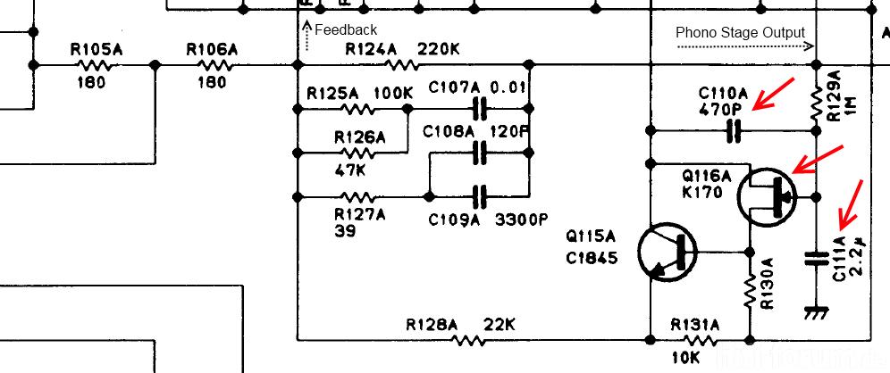 Luxman C-02 Phono Section Feedback with DC Servo - Suspicious FET