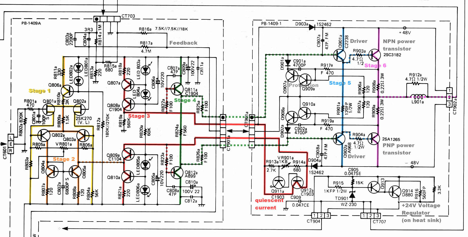 Luxman L410 Power Amp Section Schematic Stages Marked | driver, l410 ...