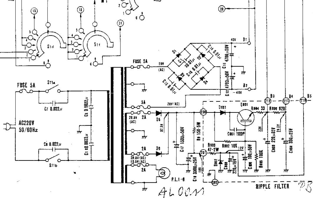 luxman r 800 schematic detail power supply