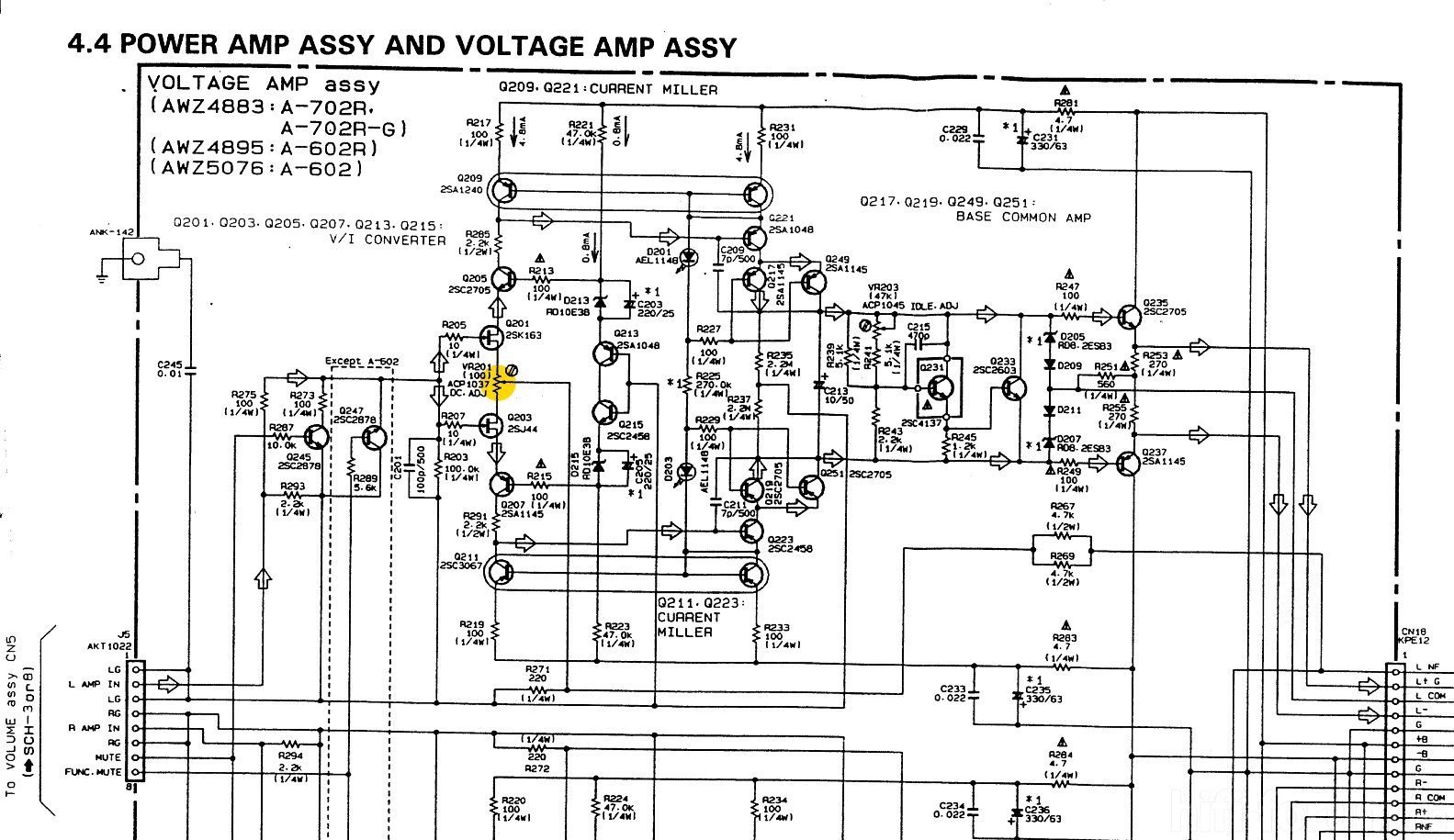 pioneer a 702r schematic detail power amp voltage amplifier assembly rh hifi forum de Voltage Amplifier Circuit Voltage Amplifier Circuit