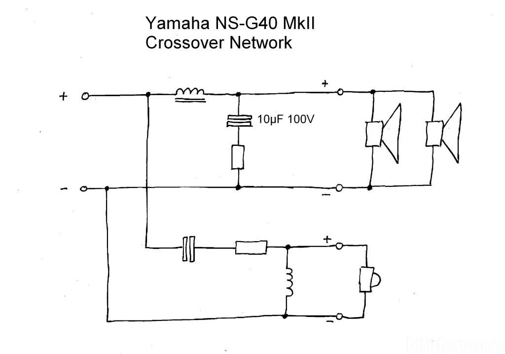 Schaltplan der Frequenzweiche der Yamaha NS-G40MkII | frequenzweiche ...