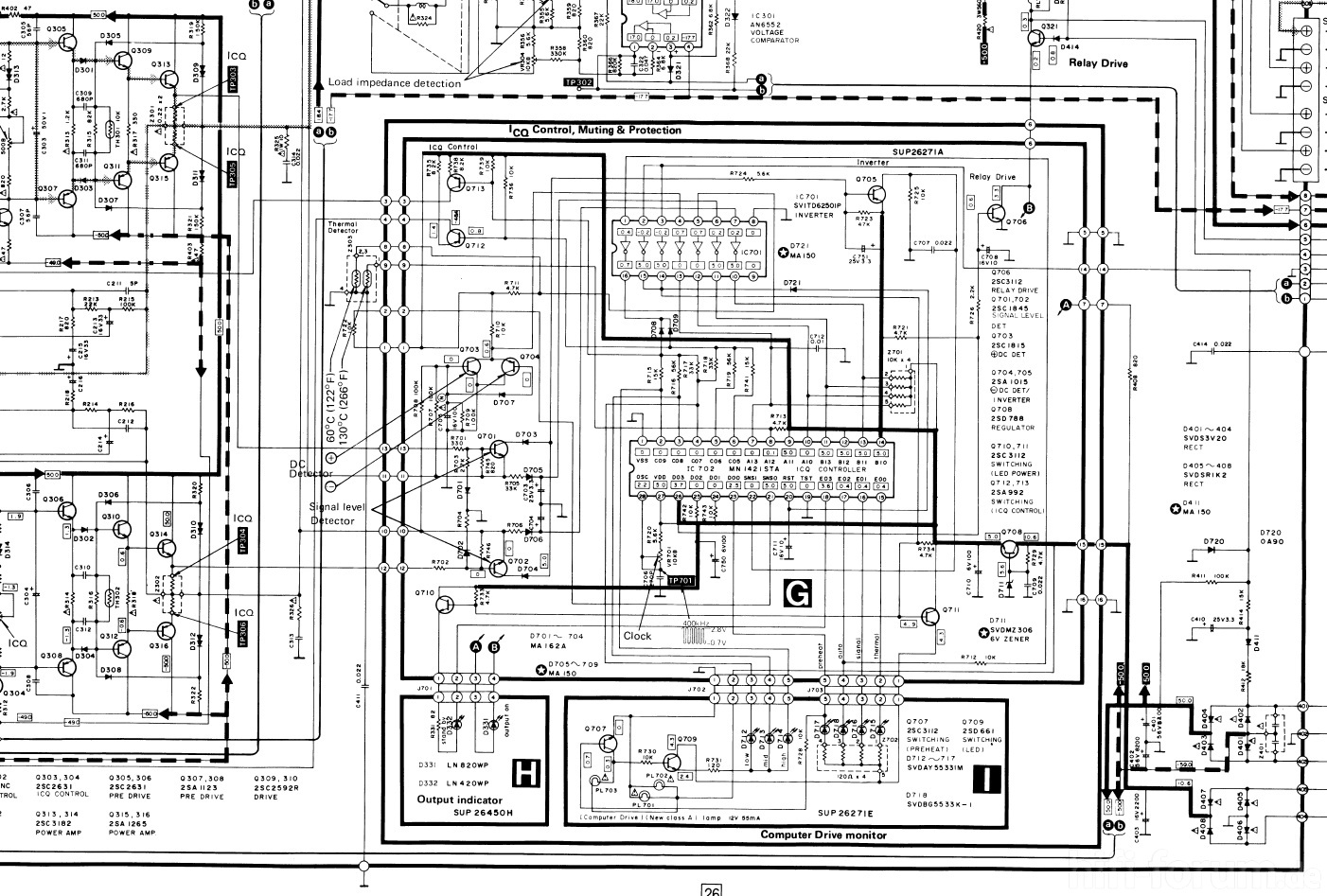 Technics Su V505 Schematic Detail Idle Current Control Computer And Elko Relay Protection Circuit