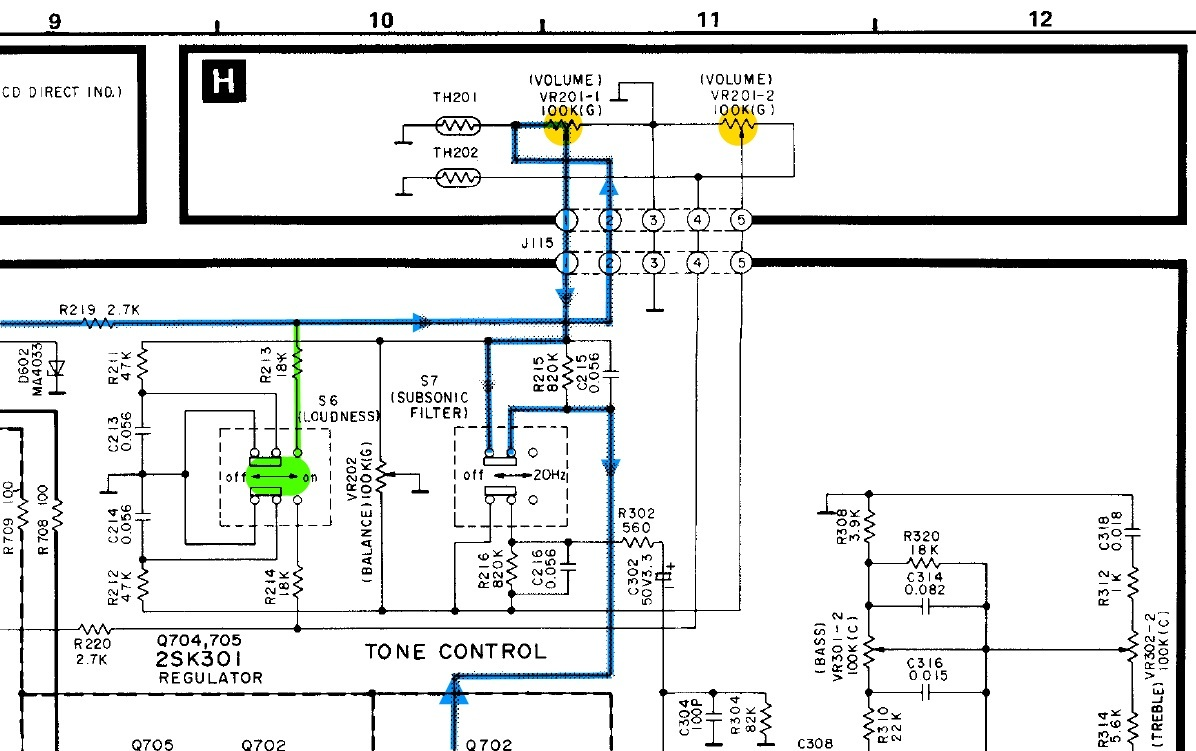Technics SU V65A Schematic Detail Volume Potentiometer And Loudness ...