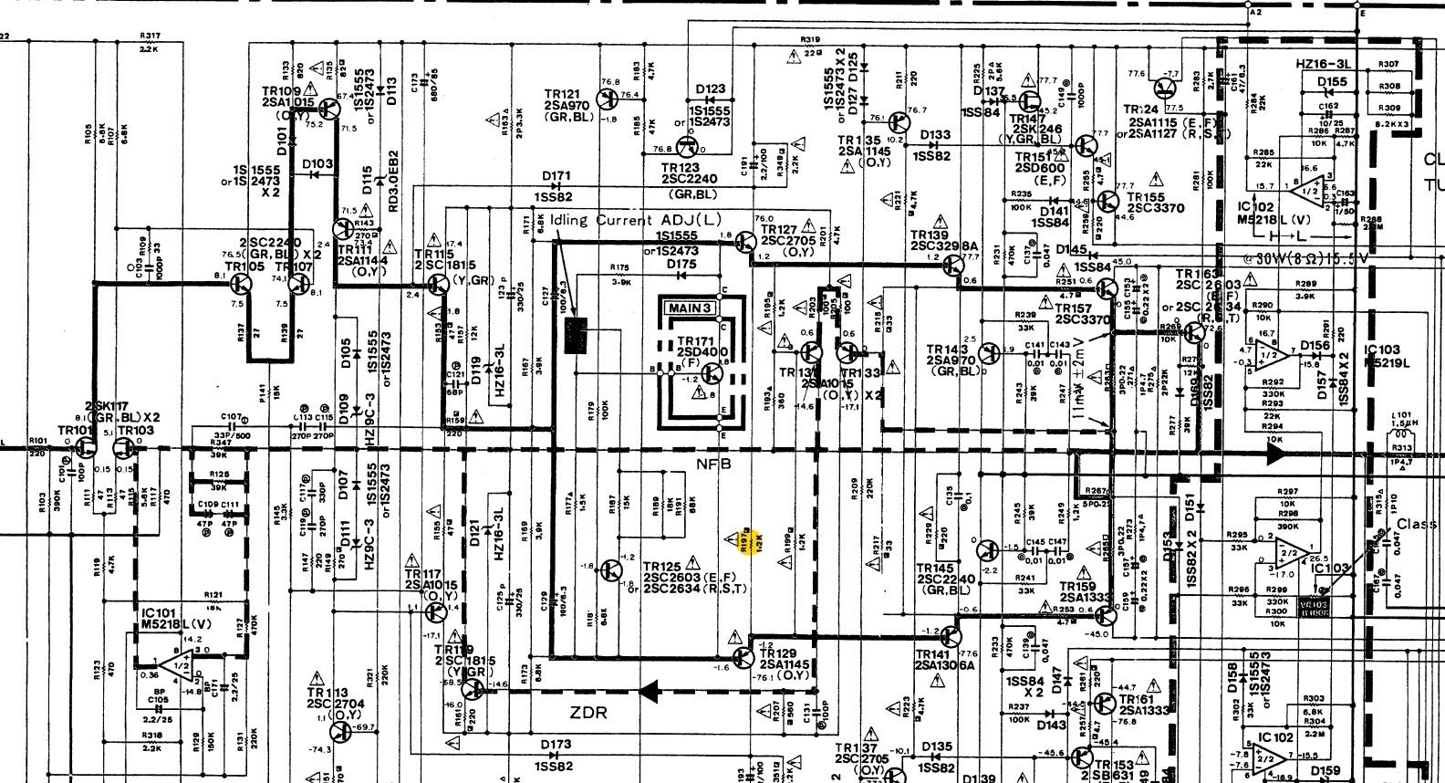 Yamaha A 1000 Schematic Left Power Amplifier R197 R198 ... on