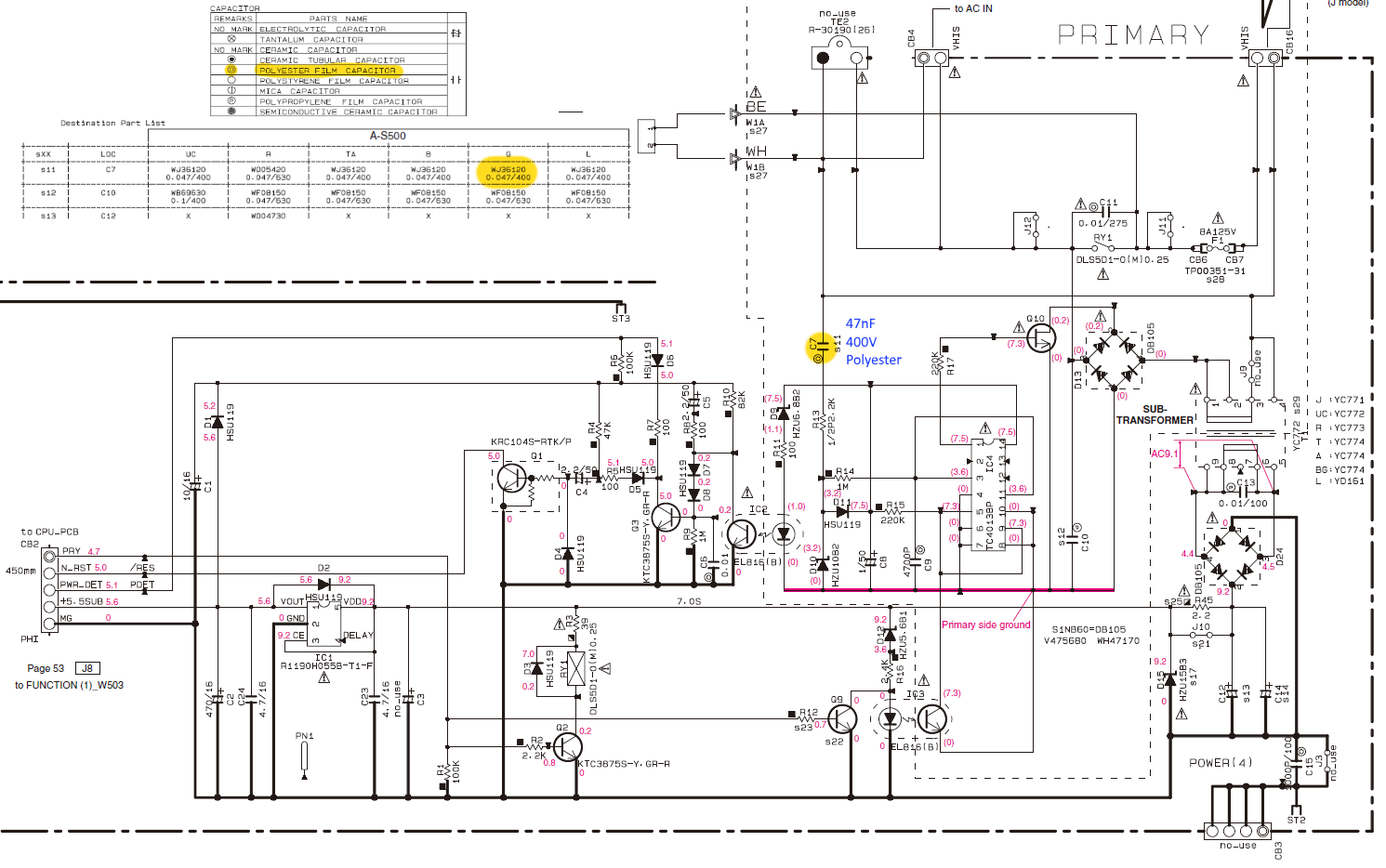 Yamaha A S500 A S300 Schematic Detail Standby Circuit ... on