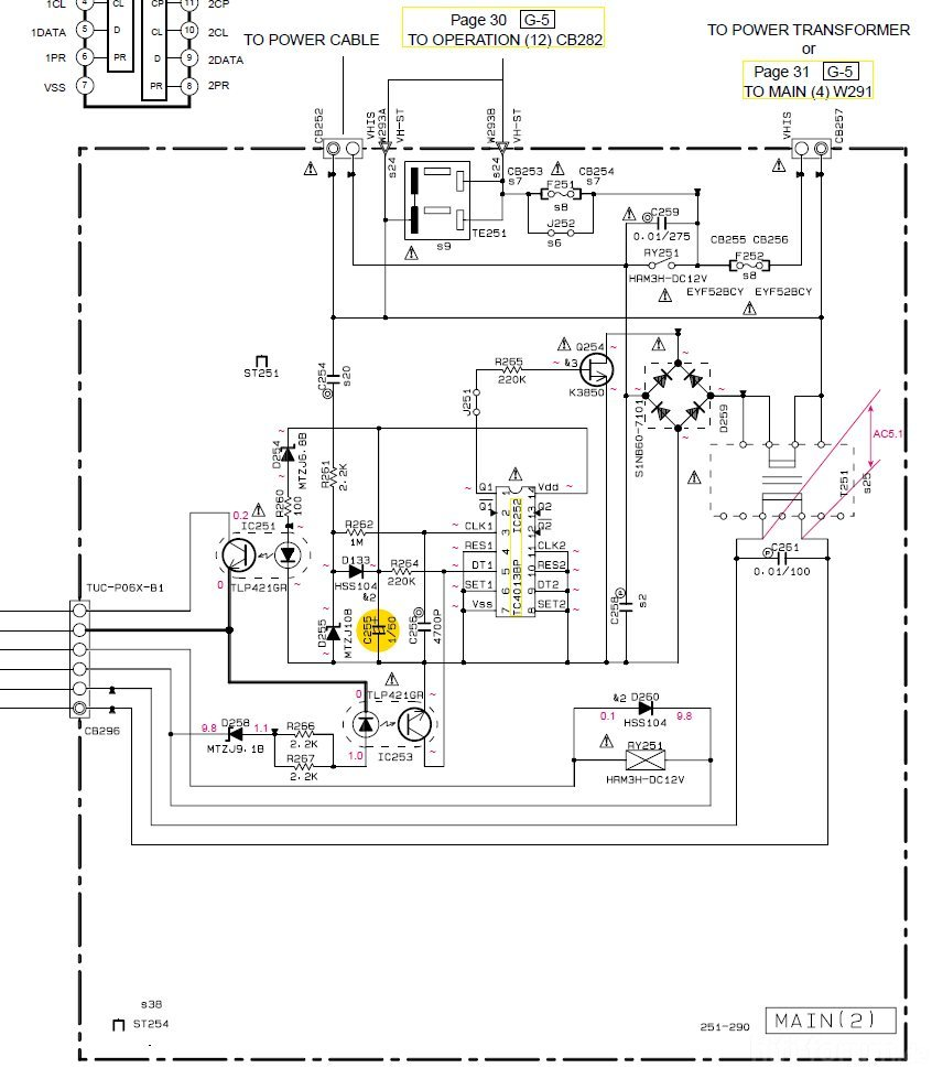 Yamaha RX 497 Schematic Detail Power(2) PCB With Damaged ... on