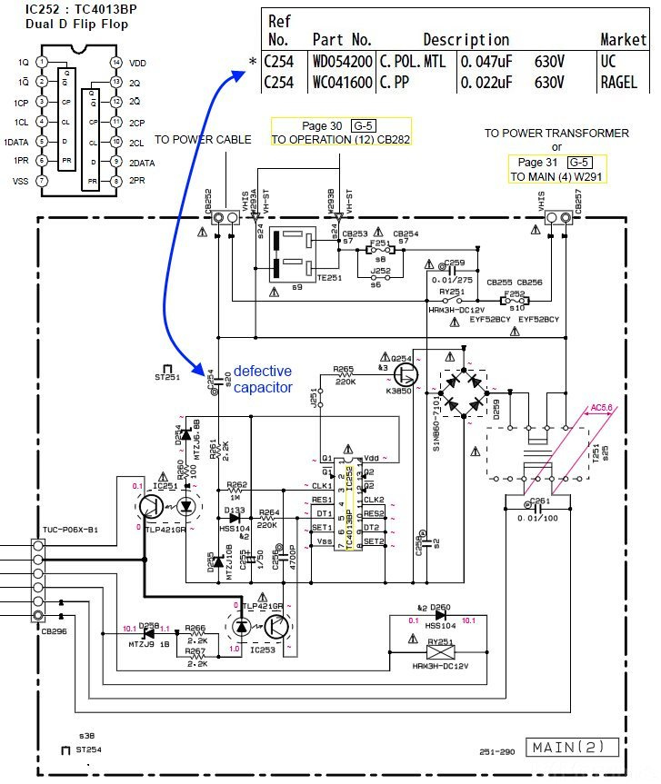 Yamaha Rx V397 Schematic Standby Circuit C254 Problem Faulty Capacitor 22nf 47nf