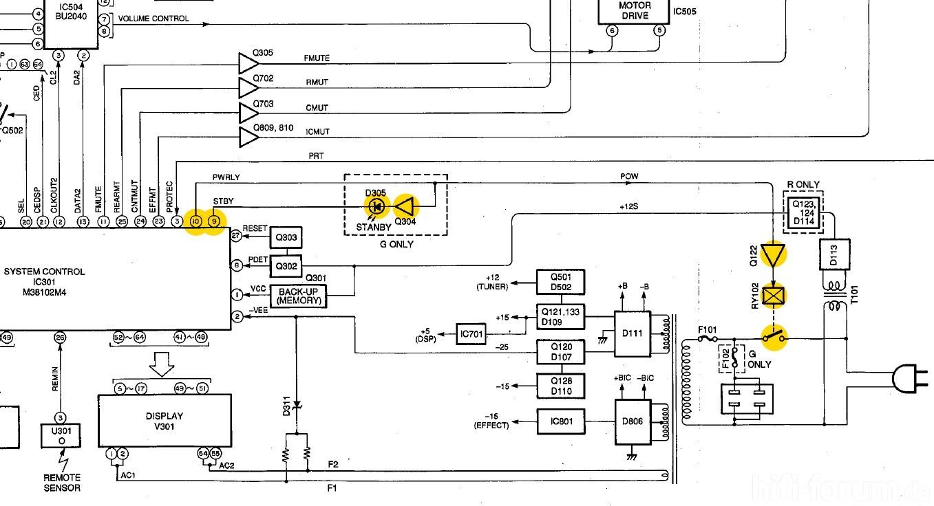 Yamaha Rx V480 Block Diagram Detail Standby Logic