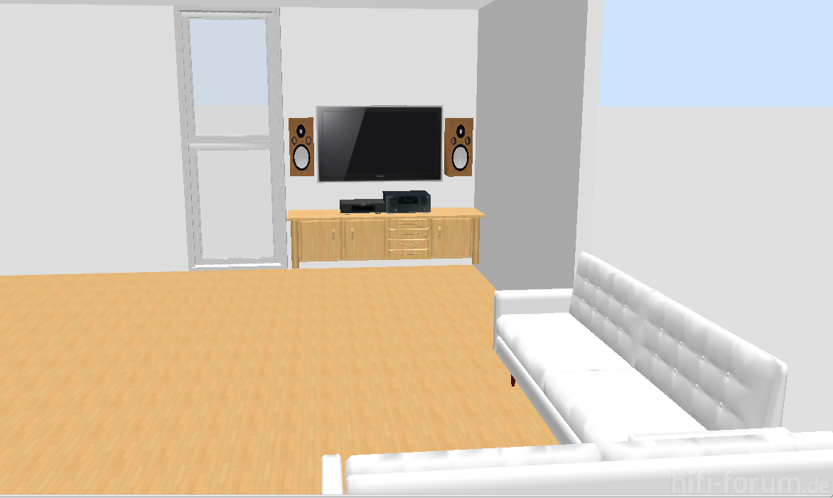 55 zoll tv und h ngende ls lautsprecher ls stereo tv. Black Bedroom Furniture Sets. Home Design Ideas