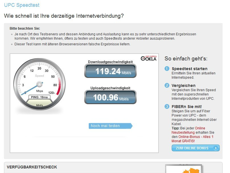 Speed test upc