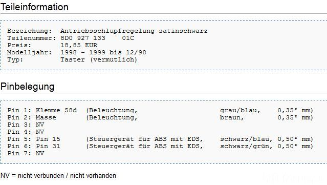 Pin Belegung ASR Taster Audi A4 B5 | a4, asr, audi, b5, belegung ...