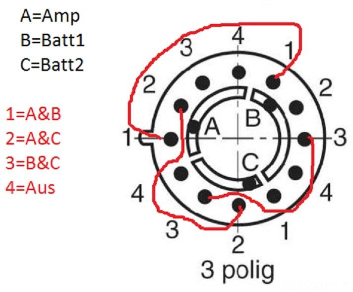 Drehschalter 3Pol 4 Stellungen | 3pol, batteriebetrieben ...