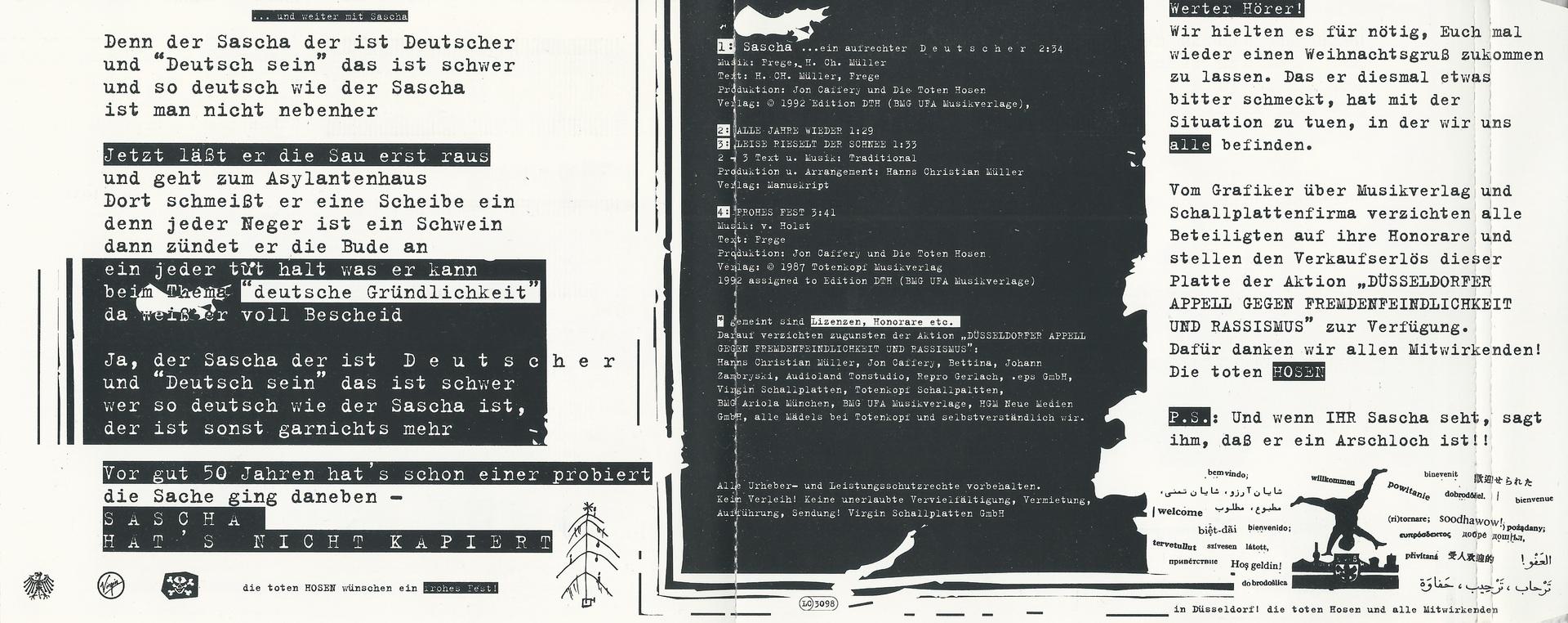 günstige Preise tolle Preise klare Textur CD Cover (Die Toten Hosen Sascha Ein Aufrechter Deutscher ...