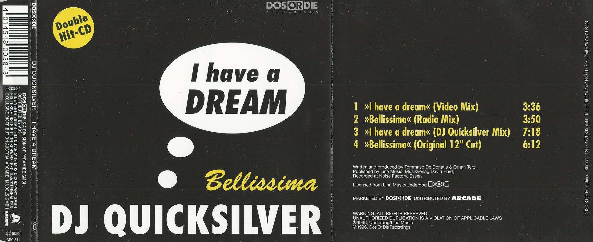 CD Cover DJ Quicksilver I Have A Dream
