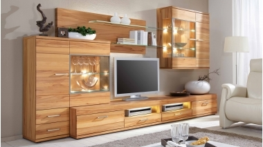 wohnwand schroeder aus holz in holz hell wohnwand. Black Bedroom Furniture Sets. Home Design Ideas