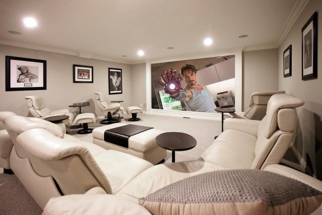 Hi tech heimkino luxus einrichtung wei e lounge m bel for Luxus einrichtung