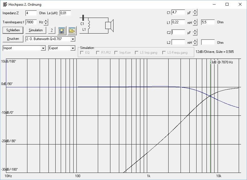 trennfrequenz berechnen frequenzweiche f r 2 wege. Black Bedroom Furniture Sets. Home Design Ideas