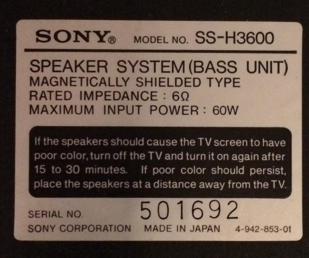 Anschluss von Sony Lautsprecher bestehend aus zwei Elementen ...