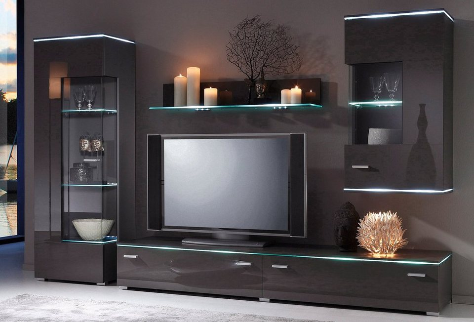 wohnwand 4 tlg grau 5808359 hifi bildergalerie. Black Bedroom Furniture Sets. Home Design Ideas