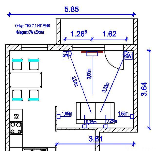 Grundriss Wohnzimmer Lautsprecher