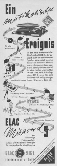 Elac Werbung 1953