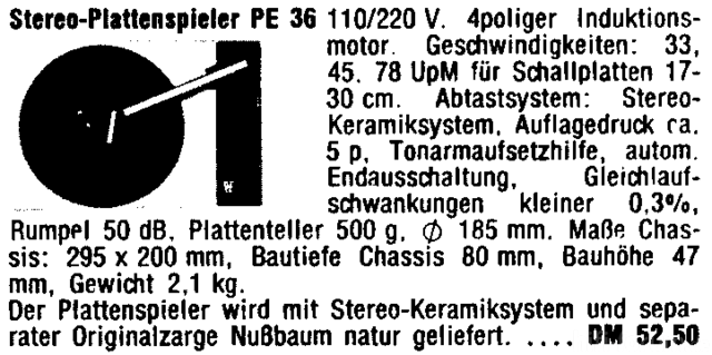 PE 36 Werbung 1972