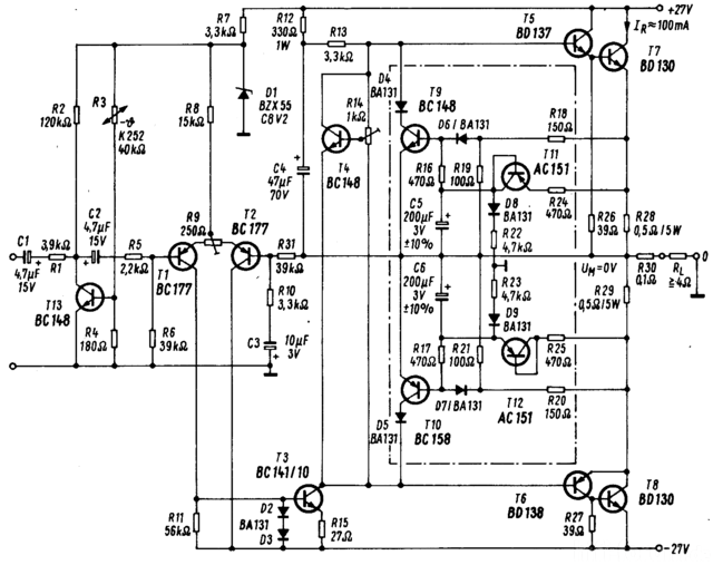 Siemens 1971 Transistorverstaerker Schaltplan