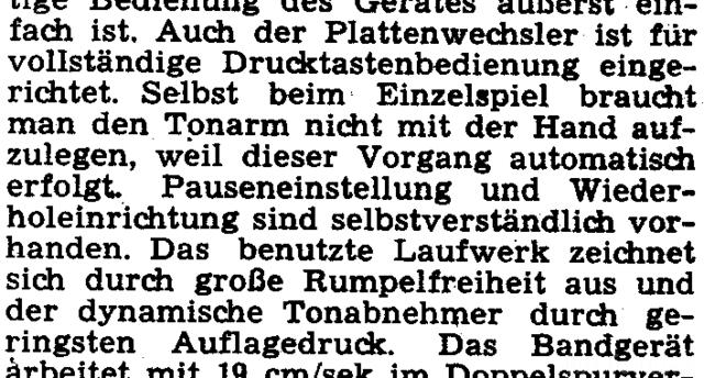 Siemens Kammermusikkombination Beschreibung Plattenspieler
