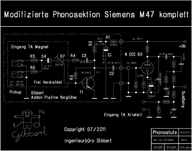 Siemens Schatulle M47 Schaltplan Phonostufe Komplett