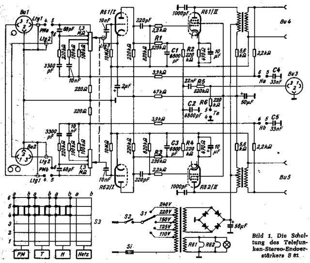 Telefunken S 81 Schaltplan Original