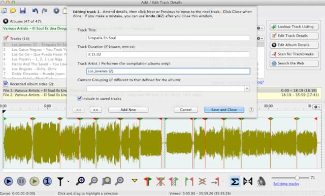 Vinylstudio 15  Edit Trackdetails
