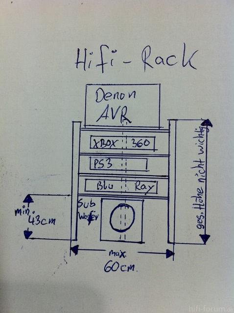 Hifi Rack Skizze