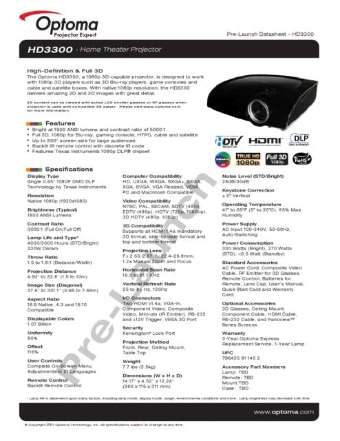 Optoma HD3300
