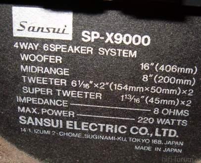 Sansui XP9000 Daten
