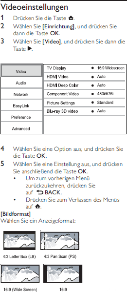 Philips BDP5180/12 Videos Settings