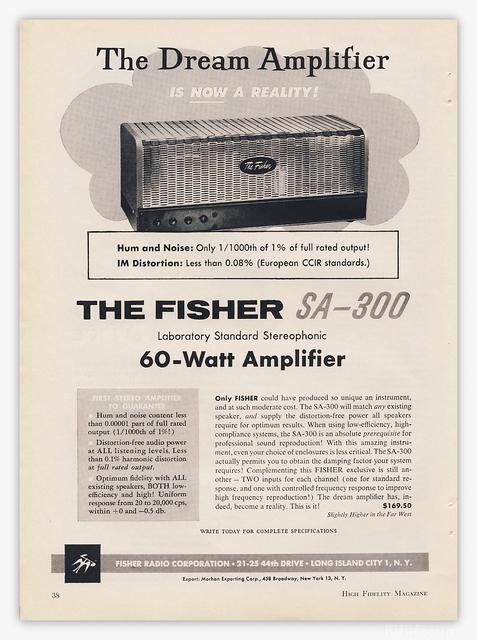 Fisher SA300 Werbeanzeige 1959