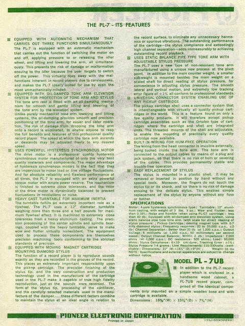 Pioneer PL7 Prospekt Rückseite