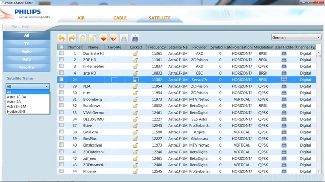 Philips Channel Editor Screenshot