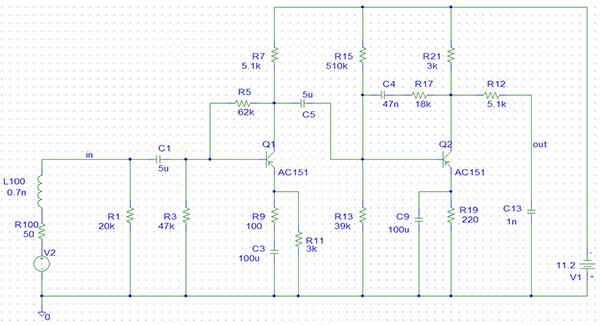 Schaltbild Perpetuum Ebner TV204 mit Signalgenerator als Quelle