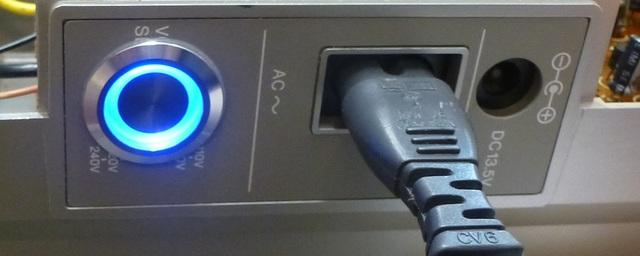 04 AIWA CS-880 Netzschalter eingeschaltet vergrößert