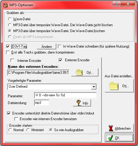 Audiograbber mp3 Einstellungen