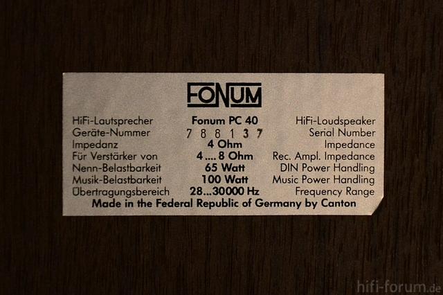 Canton Fonum PC 40 1